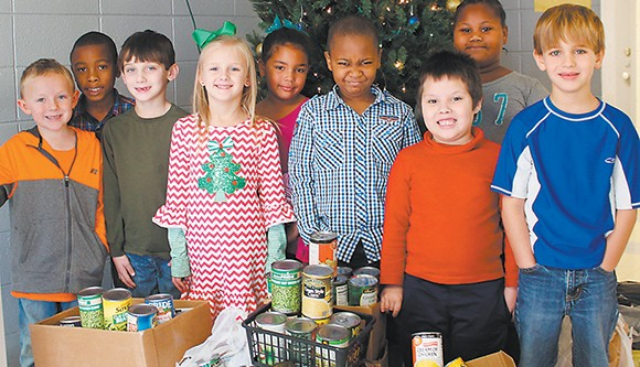 First Graders work on food drive